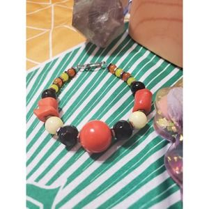 Handmade multi stone Orange And Black Bracelet